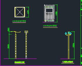 垃圾箱及路灯设计图