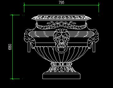 浮雕、花盆、喷泉、饰品CAD图块