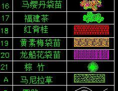 56种绿化植物CAD平面图例