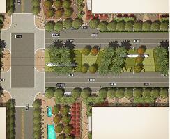 道路绿化景观平面彩图PSD素材
