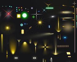 景观亮化彩灯PSD形意素材