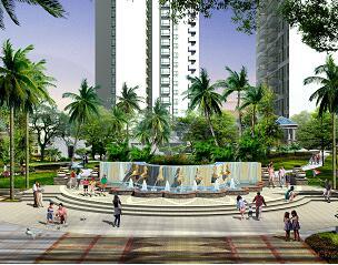 喷泉小广场景观效果图PSD源文件素材