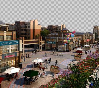 商业街环境规划效果图PSD源文件素材