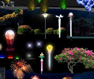 园林灯光夜景PSD形意素材