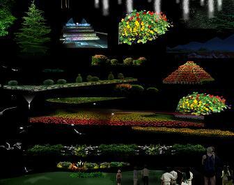 50种园林植物灯光亮化PSD形意素材