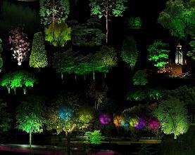70种植物灯光亮化及城市夜景PSD形意素材