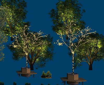 20种树木灯光亮化PSD形意素材