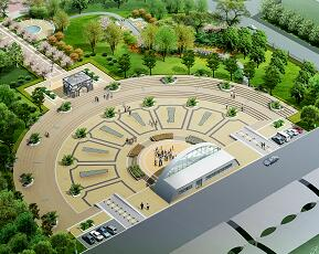 城市中心广场景观效果图PSD素材源文件