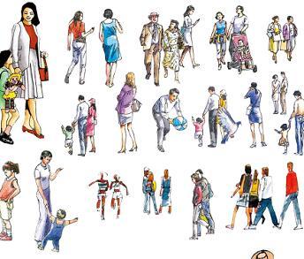 41种手绘人物立面PSD素材源文件