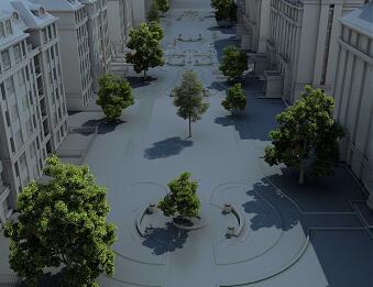 居住区楼间绿化鸟瞰PSD素材源文件