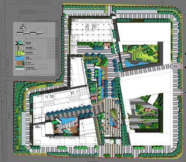 软件园景观总平面彩图PSD素材