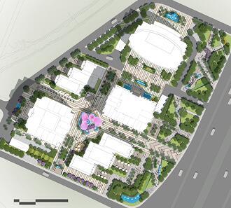 商业街区景观总平面彩图PSD素材