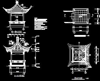 古建四角亭设计图