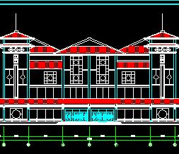 现代仿古服务中心建筑设计图纸