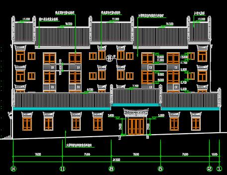 四层仿古住宅建筑施工图纸