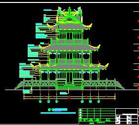 某公园三层望江阁古建筑施工图纸