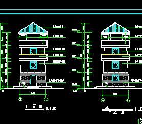 某公园了望塔古建筑全套施工图纸(建筑结构水电)