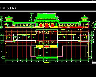 某寺庙古建筑施工图纸(砖木结构)