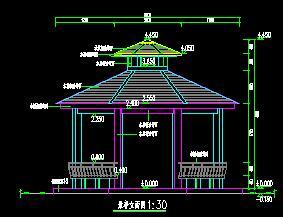 木结构八角重檐亭古建筑施工图纸