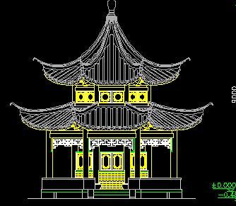 十六柱八角重檐亭古建筑施工图纸
