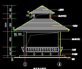 四角重檐亭古建筑施工图纸