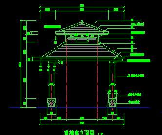 四角二层重檐亭古建筑设计图纸