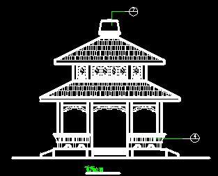 二层四角重檐亭古建筑施工图纸
