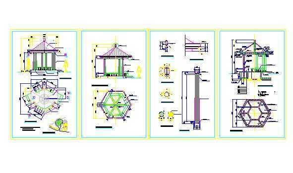 欧式六角亭施工图免费下载 - 小品及配套设施 - 土木