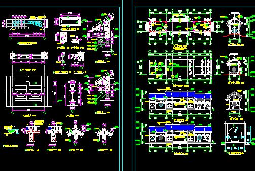 亭、廊建筑施工图