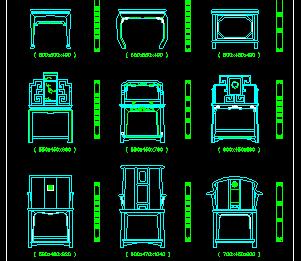 常用的中式家具CAD图块
