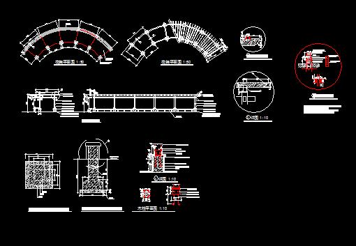 弧形花架设计详图