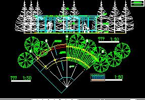 弧形花架施工设计图