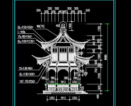 苏式八角重檐亭施工图纸