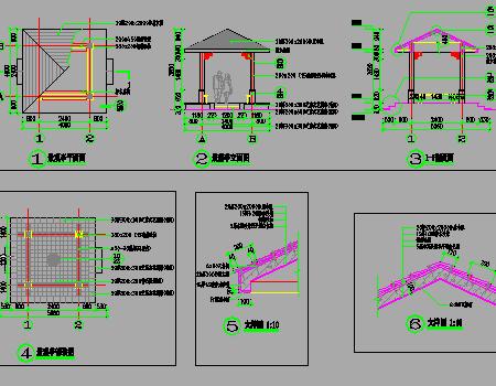 中式四角景观亭、座椅施工详图