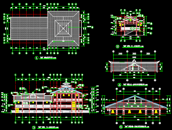二层中式吊脚楼建筑施工图纸