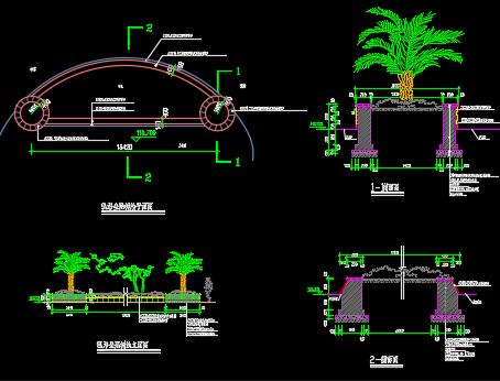 弧形坐凳树池设计详图