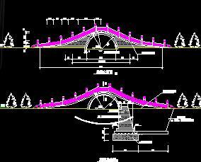 某古典石拱桥景观桥设计图纸
