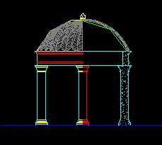 欧式圆顶亭构造设计图纸
