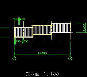 三段式斜梯状花架园林施工图纸