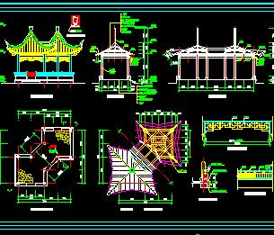22个园林仿古景观亭设计图纸