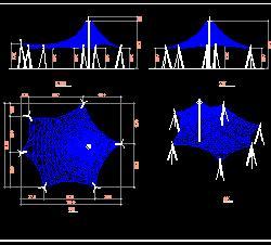 某张拉膜亭结构设计图纸