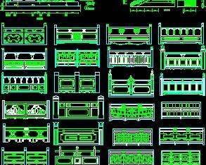 中式图库CAD栏杆免费下载-园林建筑及相关架子cad图图片