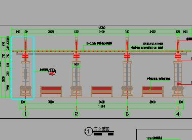 中高端单边廊架园建施工图纸
