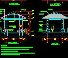 3种木结构凉亭园建施工图纸