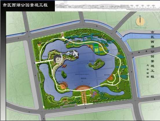 某市西湖公园景观工程总平面图免费下载 - 园林绿化及