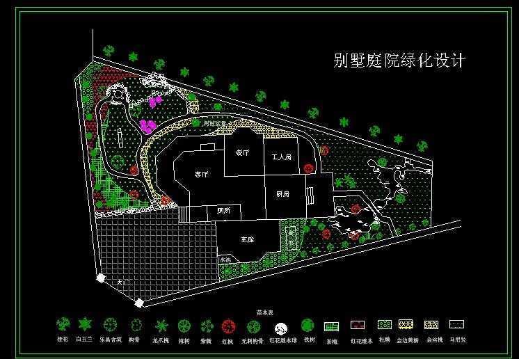 别墅庭园绿化设计图纸