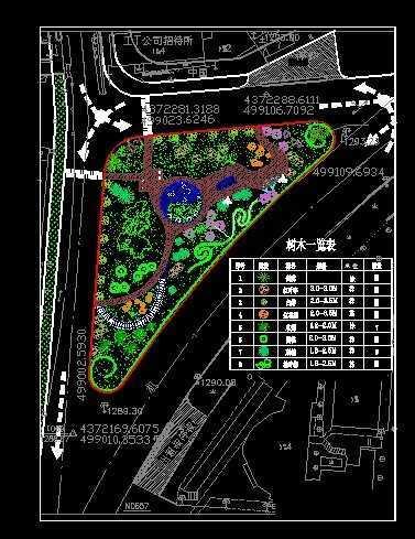 街头小游园绿化平面图