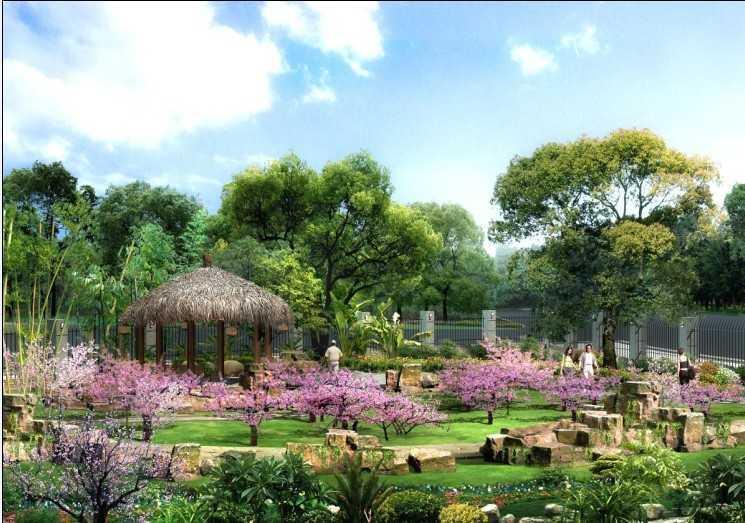 古典园林鸟瞰效果图