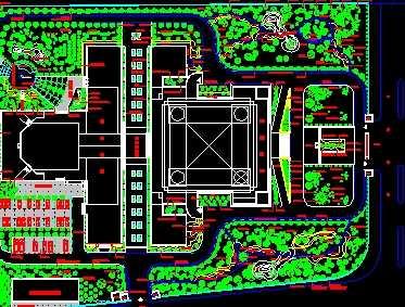 某机关办公楼植物平面布置图