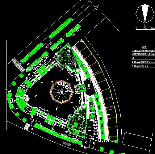 三角广场规划设计图及花架施工详图